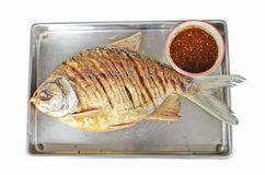 Fried white pomfret. With chili sauce close up Royalty Free Stock Image