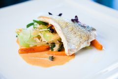 Fried whitefish fillet. Stir-fried with green vegetables, jasmine rice, carrot salad and a creamy shrimp sauce Royalty Free Stock Image