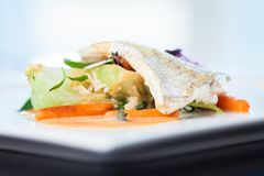 Fried whitefish fillet. Stir-fried with green vegetables, jasmine rice, carrot salad and a creamy shrimp sauce Stock Image