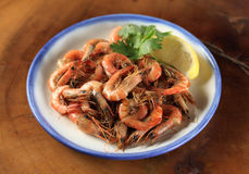 Fried whole shrimp appetizer Stock Photos