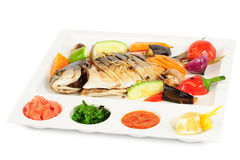 Fried wish with grilled vegetables and sauces Stock Photography