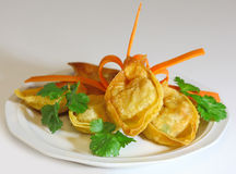 Fried Wonton. Stuffed with pork, shrimp and vegetable Stock Photo