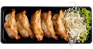 Fried wonton. Isolated on white stock photo