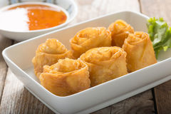 Fried wonton with sauce. Royalty Free Stock Image