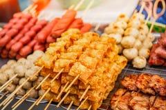 Fried wonton and pork ball, street food at market. Fried wonton, street food at market in thailand stock photo