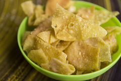 Fried wontons. Closeup of asian appetizer crispy fried wontons Royalty Free Stock Photos