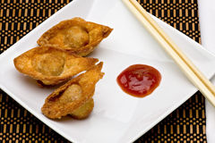 Fried Wontons on Plate Stock Image