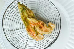 Fried zucchini blossom Stock Images