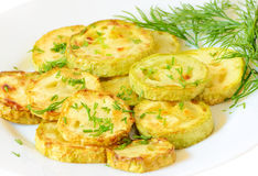 Fried zucchini with dill Royalty Free Stock Photo