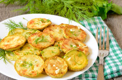 Fried zucchini with dill Royalty Free Stock Images
