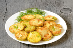 Fried zucchini with dill Stock Photography