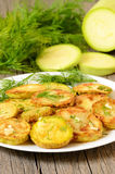 Fried zucchini with dill Royalty Free Stock Image
