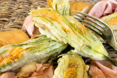 Fried Zucchini Flowers Closeup royalty free stock photography