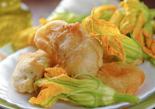 Fried zucchini flowers Royalty Free Stock Photos