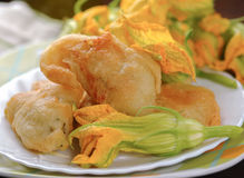 Fried zucchini flowers Royalty Free Stock Photography