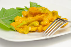 Fried zucchini flowers Royalty Free Stock Images