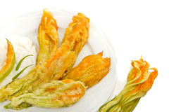 Fried zucchini flowers isolated Stock Photography