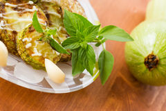 Fried zucchini with garlic mayonnaise Stock Photography