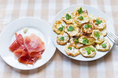 Fried zucchini and jamon Royalty Free Stock Photos