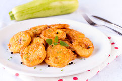 Fried zucchini on the plate Stock Photos