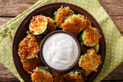 Fried zucchini slices in breaded Panko with sour cream close-up. Stock Images