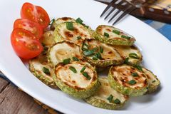 Fried zucchini on a white plate closeup with tomatoes Stock Photography