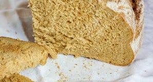Frieden des selbst gemachten Brotes legen gegen weißen Hintergrund Stockbilder