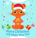 Frieden des Verstandes Guten Rutsch ins Neue Jahr-Karte mit meditierender Cat Vector Weihnachtsyoga Cat Vector Lizenzfreies Stockfoto