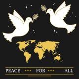 Frieden für alle Grußkarte Vektor Eps10 Tauben und Karte verdünnen L Stockfoto