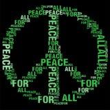 Frieden für alles schwarze BG Stockbild