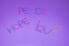 Frieden, Hoffnung, Liebe Stockfotos