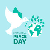 Frieden tauchte mit Ölzweig für internationales Friedenstagesplakat Stockbild
