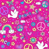 Friedens-und Liebes-nahtloser Muster-Vektor Stockfotografie
