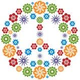 Friedens-und Liebes-Symbol gebildet von den Blumen - Mehrfarben Stockfoto