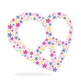 Friedensherzzeichen gemacht von den Blumen Stockfoto