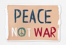 Friedensnicht Kriegs-Wortfahne stockfoto