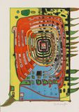 Friedensreich Hundertwasser - Abstract colorful oil painting stock image