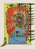Friedensreich Hundertwasser - abstrakt f?rgrik oljam?lning fotografering för bildbyråer