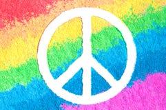 Friedenssymbol auf Regenbogen Stockbilder