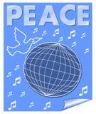Friedensvektorfahne mit der Taube, die über die Kugel- und Musiksymbole fliegt Weiße Zeichnung auf blauem Hintergrund Lizenzfreie Stockfotos