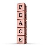 Friedenswort-Zeichen Vertikaler Stapel von Rose Gold Metallic Toy Blocks Lizenzfreie Stockfotografie