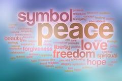 Friedenswortwolke mit abstraktem Hintergrund Stockfotos