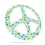 Friedenszeichen gebildet von den Blumen Stockbild
