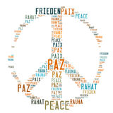 Friedenszeichen-geformte Wort-Wolke stockbild