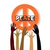 Friedenszeichen mit dem Erreichen von Händen Lizenzfreies Stockbild