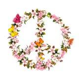 Friedenszeichen mit rosa Blumen und Schmetterlingen watercolor Stockbild