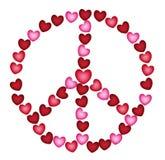 Friedenszeichen von Herzen Stockbild