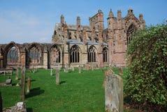 Friedhof an der Melrose-Abtei Stockbild