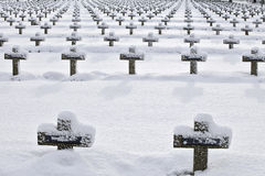 Friedhof im Schnee Lizenzfreies Stockfoto
