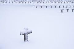 Friedhof im Schnee Lizenzfreie Stockfotografie